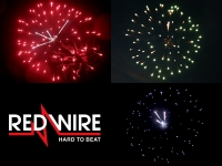 Red Wire fireworks shell assortment with 3 different peony effects. Distributed in Europe by Xena Vuurwerk BV - Holland