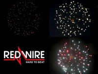 Red Wire fireworks 4 inch shells assortment of 3 different glitter effects. Available at Xena vuurwerk - professional fireworks supplier - Holland