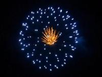 5 inch shell blue to dark to blue peony w/brocade pistil. Professional RedWire fireworks, distributed by Xena Vuurwerk BV - Holland
