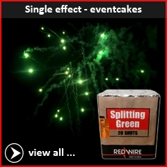 RedWire Fireworks single effect category F2 cakes. Specially made for professional use in fireworks shows