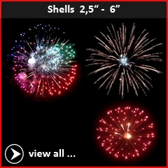"Professional fireworks shells from caliber 2,5"" up to 6"". RedWire Fireworks - Hard to beat!"