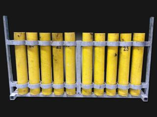 Mortar rack with 2,5 inch mortar tubes for rent. Available at Xena Vuurwerk, professional fireworks supplier