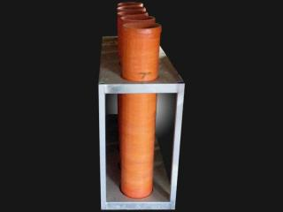 Mortar rack with 7 inch mortar tubes for rent. 5 tubes per rack. Available for rent at Xena Vuurwerk, professional fireworks supplier