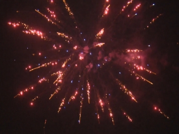 Professional fireworks cakebox with red glitter willow and blue stars effects, available at Xena Vuurwerk BV - The Netherlands