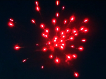 Pyromould cakebox of red Wire professional fireworks with red mine and red peony. Available at Xena Vuurwerk BV