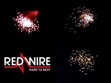 Assortment of 4 inch Red Wire shells with different falling leaves effects. Distributed by Xena Vuurwerk - Professional fireworks supplier - xenavuurwerk.com