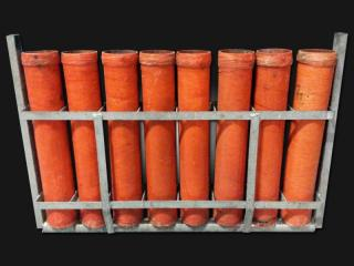 Mortar rack with 3 inch mortar tubes for rent. 8 tubes per rack. Available for rent at Xena Vuurwerk, professional fireworks supplier