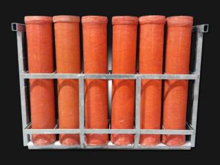 Mortar rack with 4 inch mortar tubes for rent. 6 tubes per rack. Available for rent at Xena Vuurwerk, professional fireworks supplier